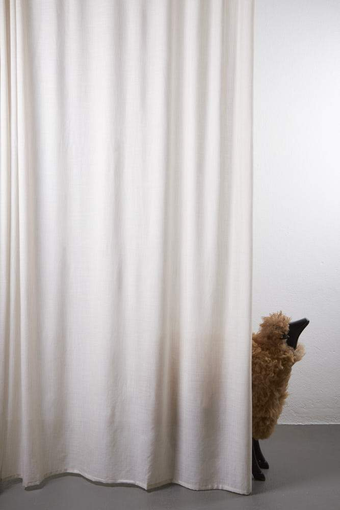 "Wool Curtains - Sydney 100% Pure Wool Curtain 300cm / 118"" Extra Wide - Melange Sand 004"
