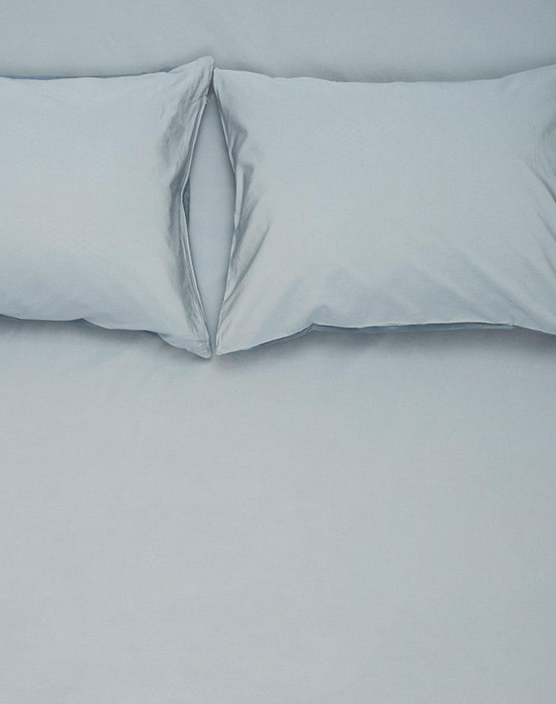 Yarn Dyed Egyptian Cotton Vintage Bedding Kuenstler Bettwaesche - Two Tone Vintage Egyptian Cotton Bedding Col. Powder Blue / Nickel