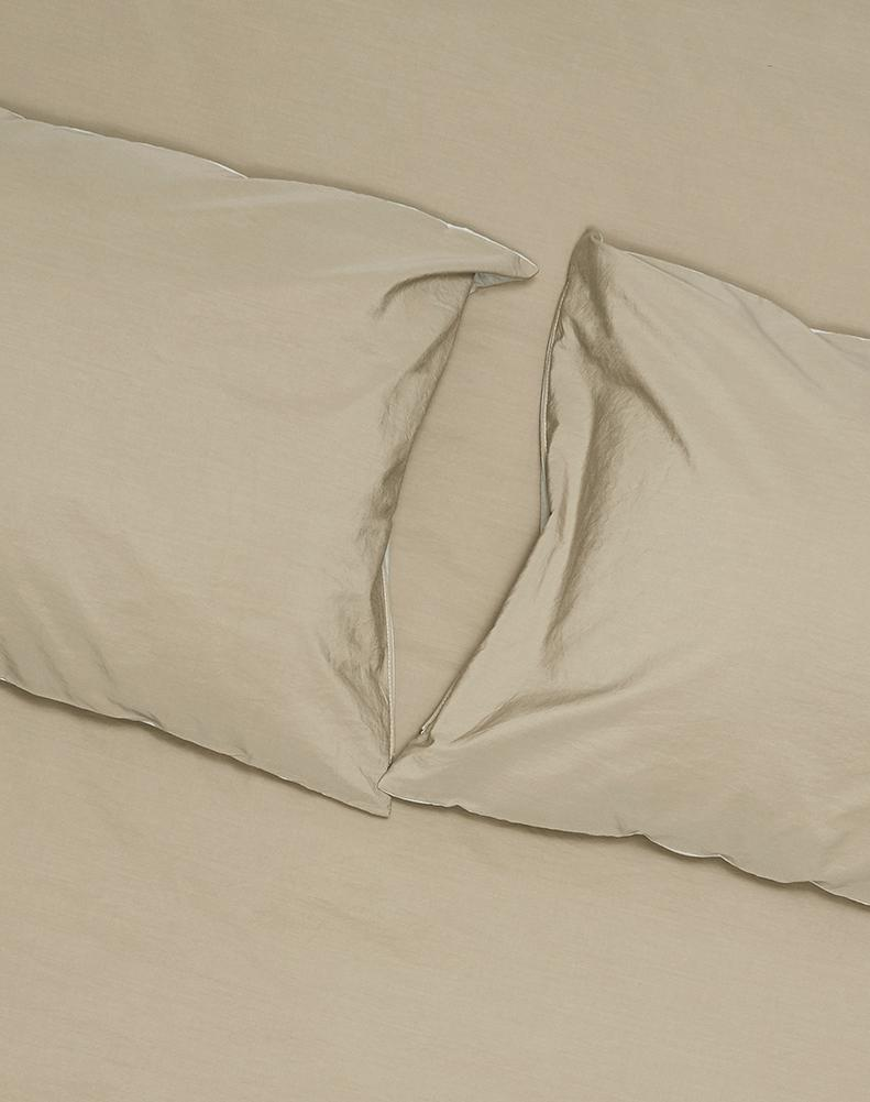 Yarn Dyed Egyptian Cotton Vintage Bedding - Two Tone Vintage Egyptian Cotton Bedding Col. Sage / Mid Grey