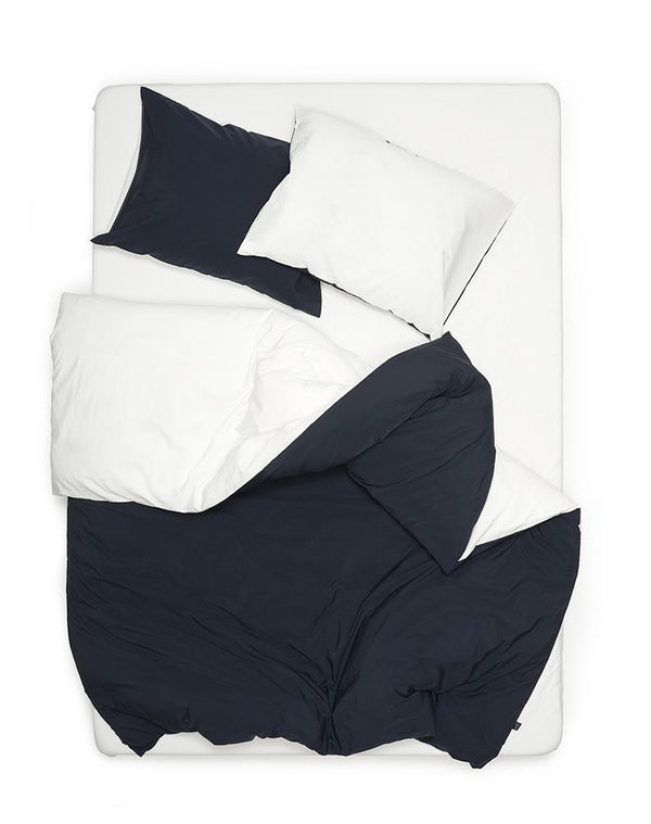 Yarn Dyed Egyptian Cotton Vintage Bedding - Two Tone Vintage Egyptian Cotton Bedding Col. White / Dark Blue
