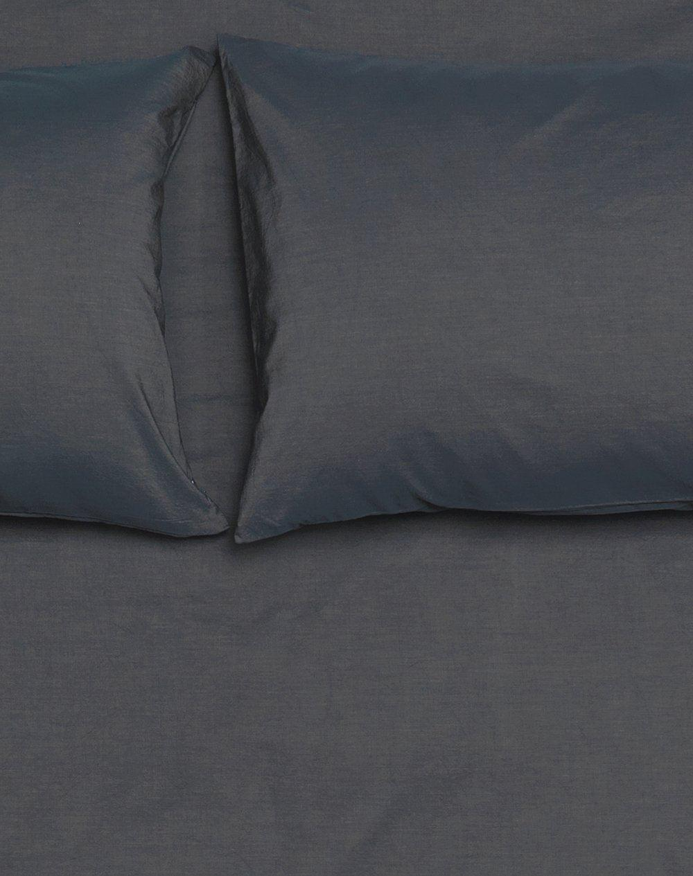 Yarn Dyed Vintage Egyptian Cotton Duvet Covers Graphite Blue Col