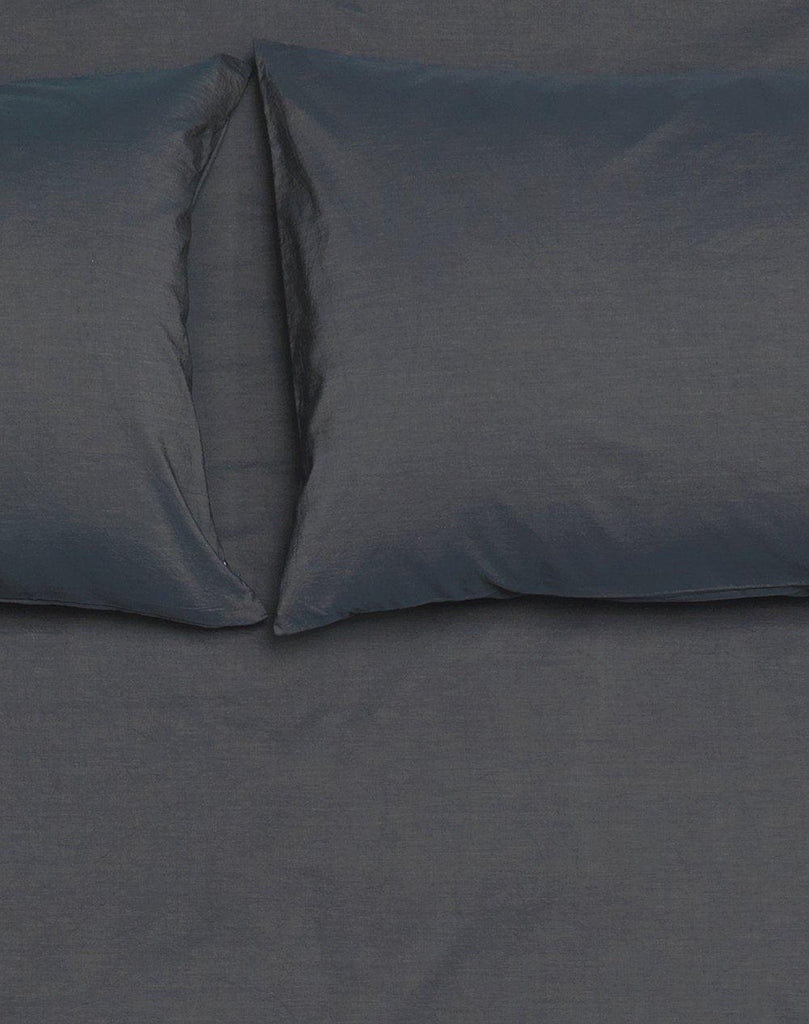 Yarn Dyed Egyptian Cotton Vintage Bedding - Vintage Egyptian Cotton Duvet Covers And Pillows - Graphite Blue ( Col 37 )