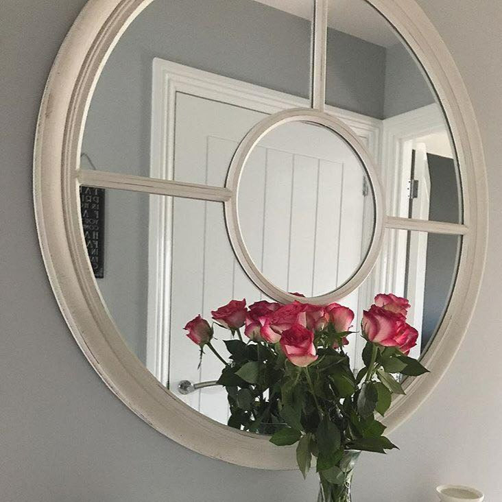 An overall view of this striking mirror in a typical setting.