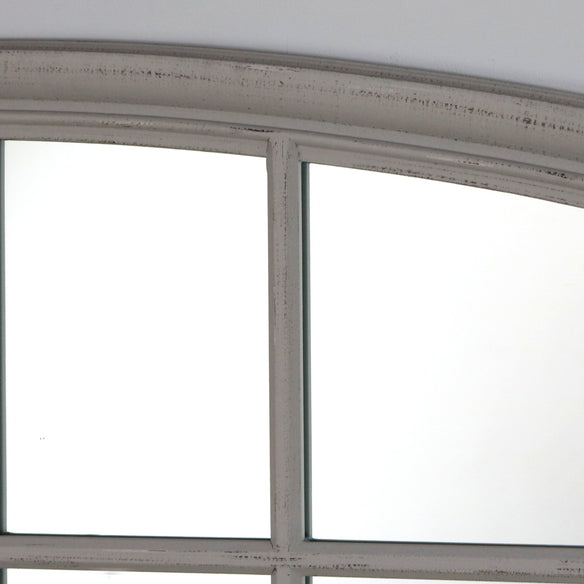 "Bollin - Vintage Grey Arched Full Length Window Mirror 72"" x 48"" (180cm x 120cm)"