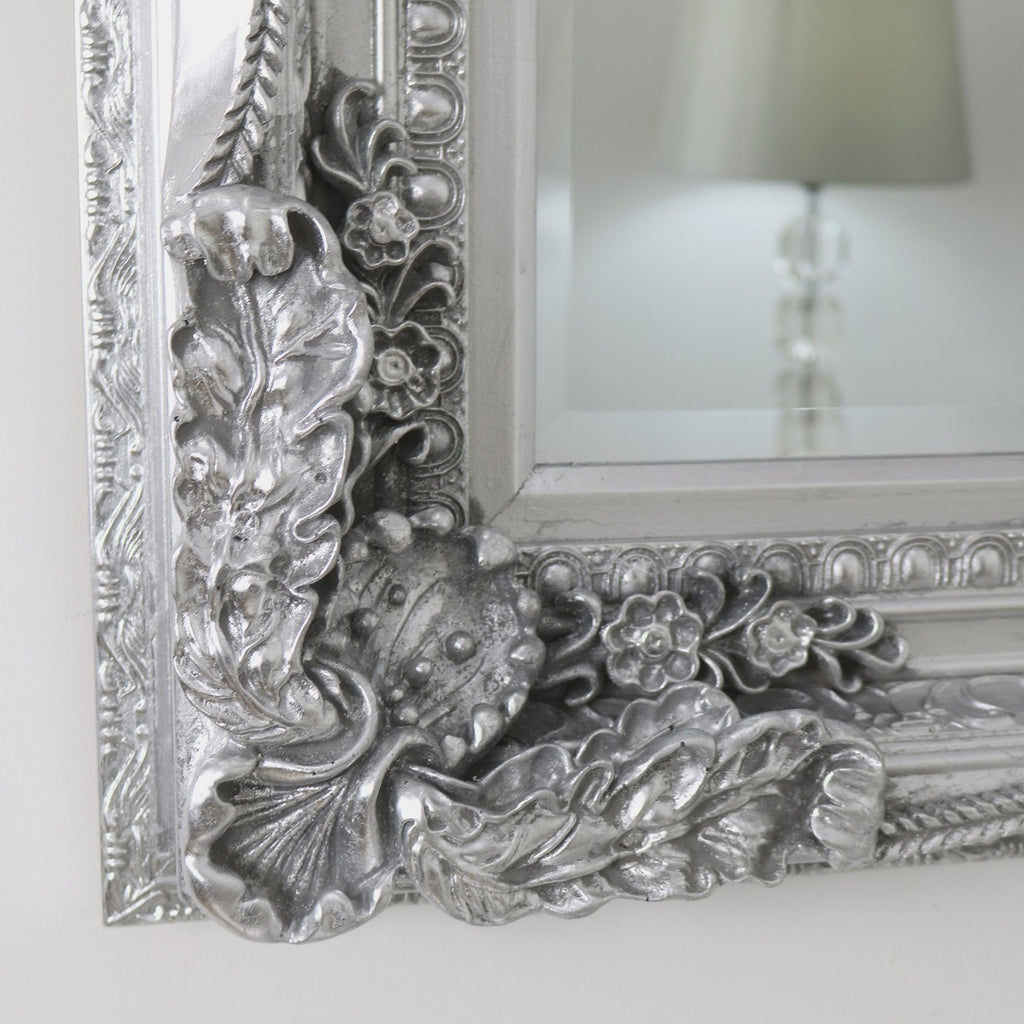 Carved louis silver leaner mirror chelsea platinum 72 x for Mirror 72x36