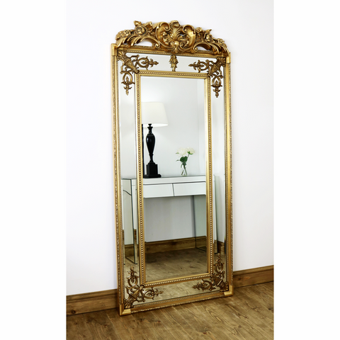 Above 200 william wood mirrors for Large gold floor mirror