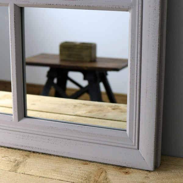 "Sasha - Grey Shabby Chic Rectangular Window Mirror 39"" x 30"" (100cm x 75cm)"