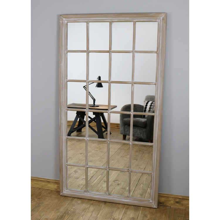 "Sasha - Oak Shabby Chic Full Length Window Mirror 72"" x 40"" (180cm x 100cm)"
