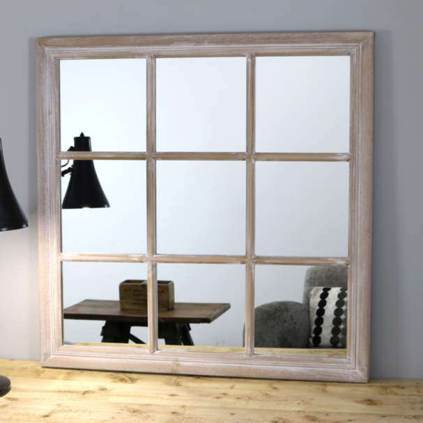 "Sasha - Oak Shabby Chic Square Window Mirror 34"" x 34"" (84cm x 84cm)"