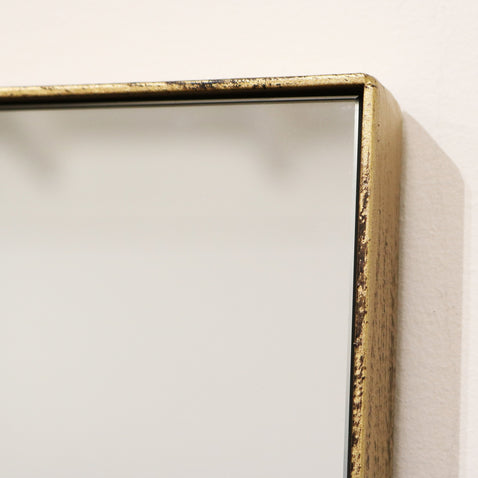 "Theo - Vintage Gold Industrial Contemporary Rectangular Metal Dress Mirror 55"" x 16"" (140cm x 40cm)"