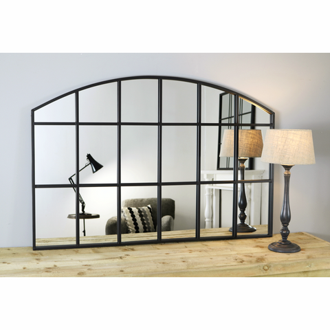 "Bridgewater Console - Black Industrial Arched Window Mirror 36"" x 30"" (90cm x 75cm)"