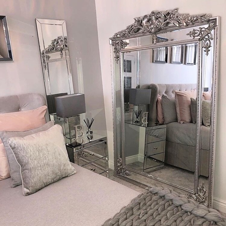 "Rosehampton - Platinum Silver Ornate Crested Full Length Floor Mirror 76"" x 51"" (190cm x 130cm)"