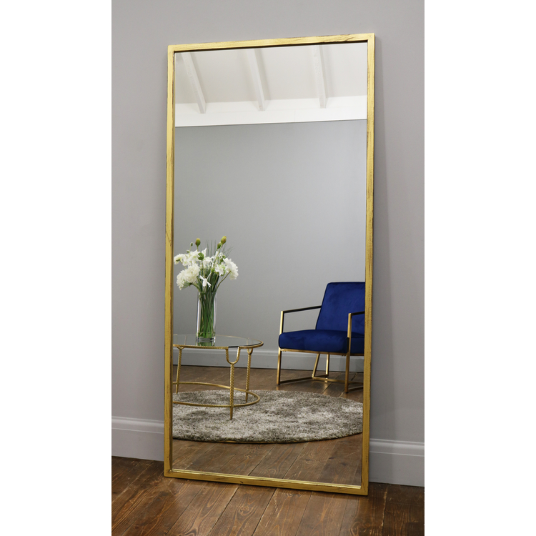 "Islington - Vintage Gold Industrial Contemporary Full Length Mirror 67"" x 32"" (170cm x 80cm)"