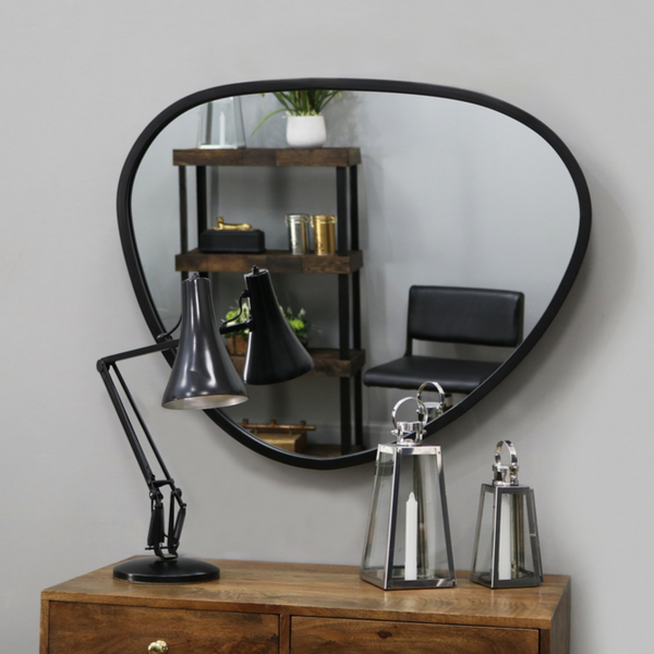 "Pebble - Black Metal Stone Shaped Industrial Wall Mirror 33"" x 28"" (84cm x 70cm)"