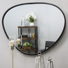 "Pebble - Black Metal Stone Shaped Industrial Wall Mirror 44"" x 36"" (110cm x 90cm)"