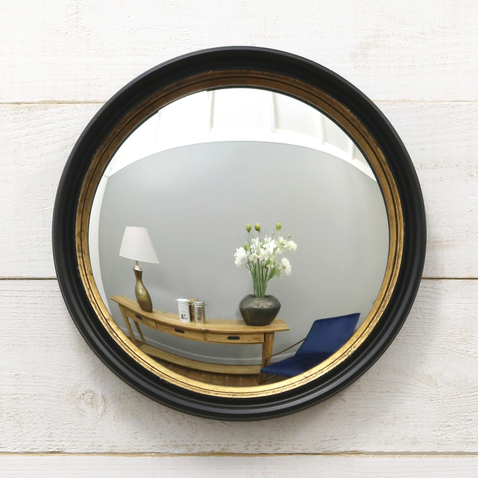 "Convessa - Black & Gold Porthole Fish Eye Round Mirror 16"" x 16"" (40cm x 40cm)"