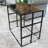 Brooklyn - Black Industrial Rectangle Mirrored Side Table