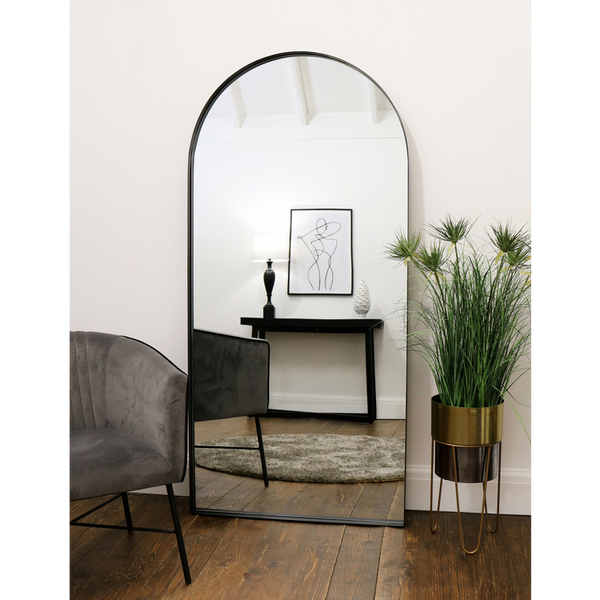 "Arcus - Black Industrial Arched Metal Mirror 67"" x 32"" (170cm x 80cm)"