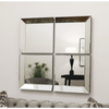 Split - Glass Framed Square Art Deco Contemporary 4 Panel Wall Mirror