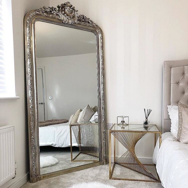 "Kensington - Champagne Silver Ornate Traditional Full Length Mirror 77"" x 40"" (196cm x 100cm)"