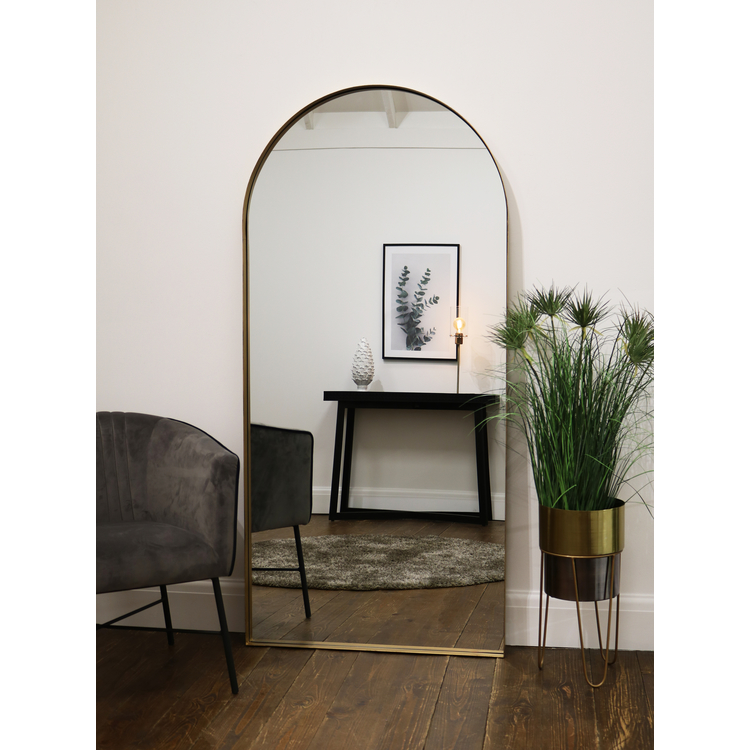 "Arcus - Vintage Gold Industrial Arched Metal Mirror 67"" x 32"" (170cm x 80cm)"