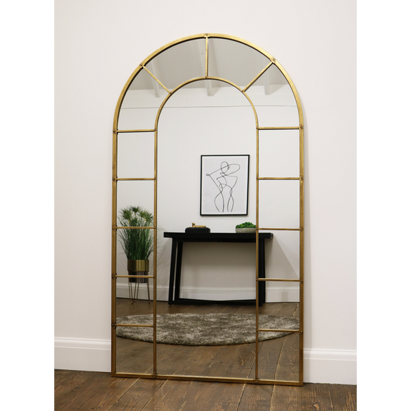 "Chicago - Gold Industrial Arched Full Length Metal Mirror 71"" x 40"" (179cm x 100cm)"