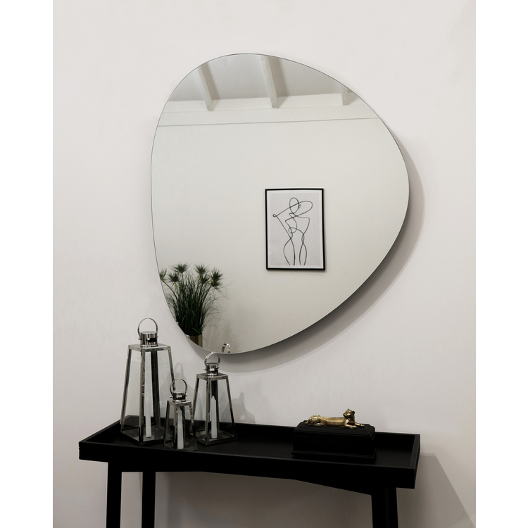 "Edge - Pebble Glass Contemporary Mirror 43"" x 37"" (109cm x 94cm)"