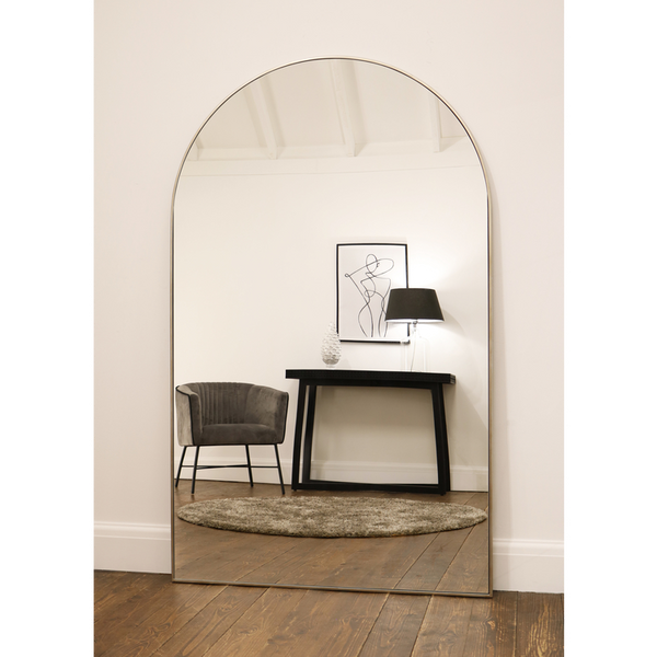 "Liberty - Champagne Silver Arched Contemporary Metal Mirror 71"" x 44"" (179cm x 110cm)"