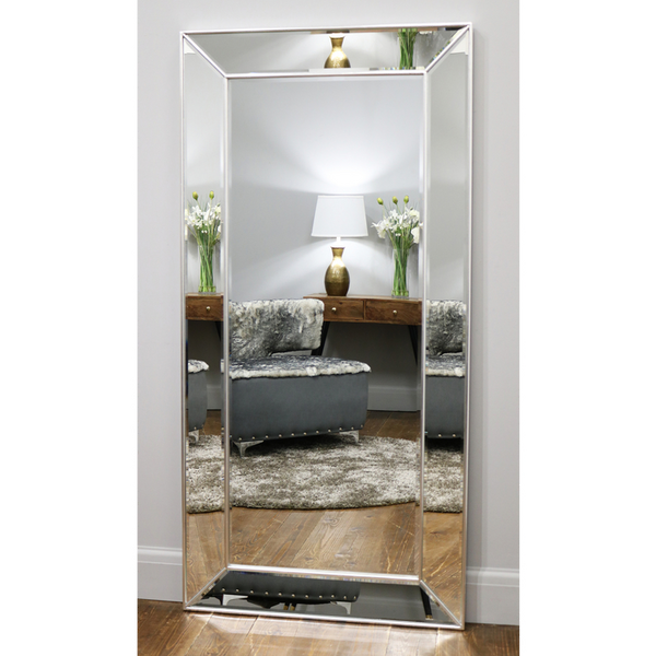 "Tuscano - Platinum Silver Contemporary Full Length Mirror 71"" x 35"" (179cm x 88cm)"