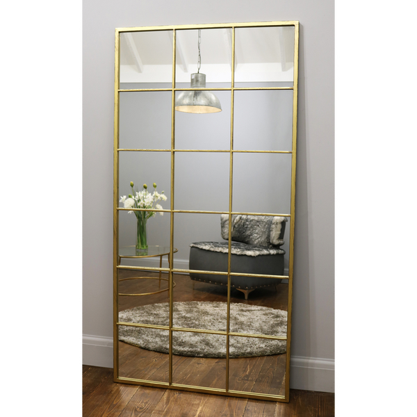 "Brooklyn - Vintage Gold Industrial Full Length Window Mirror 72"" x 36"" (180cm x 90cm)"