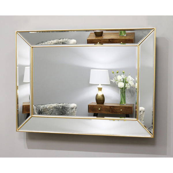 "Tuscano - Gold Contemporary Rectangular Wall Mirror 46.5"" x 35"" (118cm x 88cm)"
