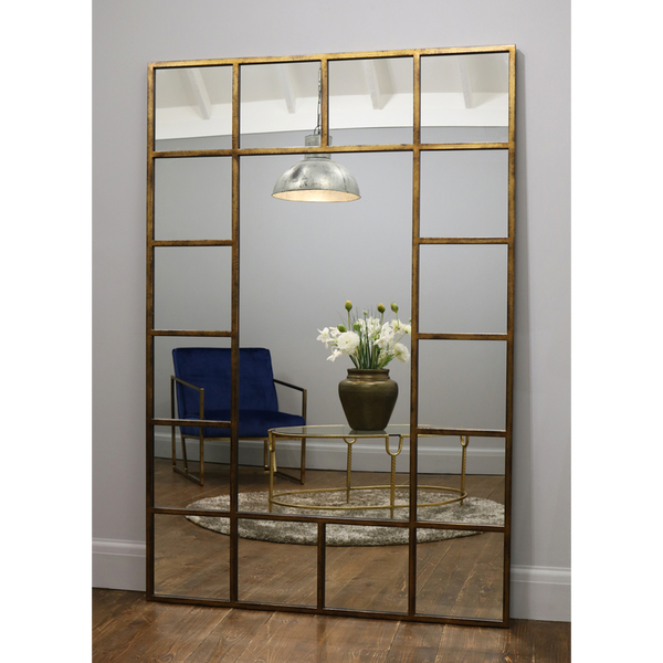 "Camden - Antique Gold Industrial Full Length Window Mirror 71"" x 47"" (179cm x 119cm)"
