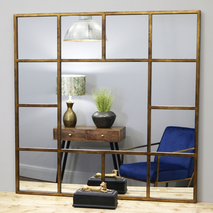 "Camden - Antique Gold Industrial Square Window Wall Mirror 47.5"" x 47.5"" (120cm x 120cm)"