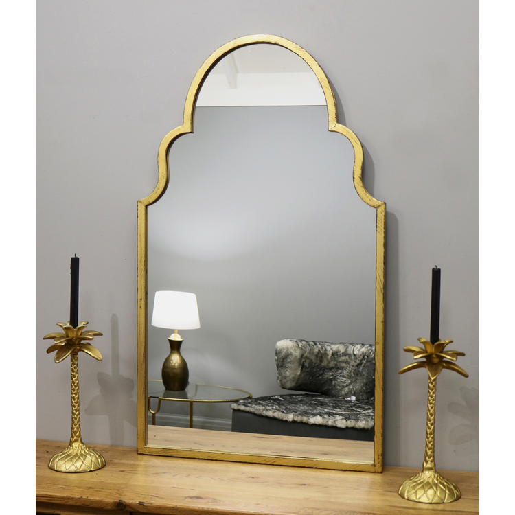 Vintage Gold Industrial Arched Metal Mirror 36 X 30 Algiers William Wood Mirrors