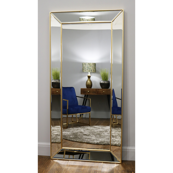 "Tuscano - Gold Contemporary Full Length Mirror 71"" x 35"" (179cm x 88cm)"