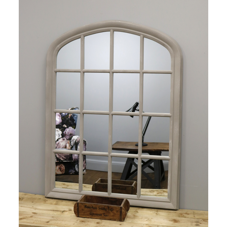 "Brook - Grey Shabby Chic Arched Window Mirror 47"" x 36"" (119cm x 90cm)"