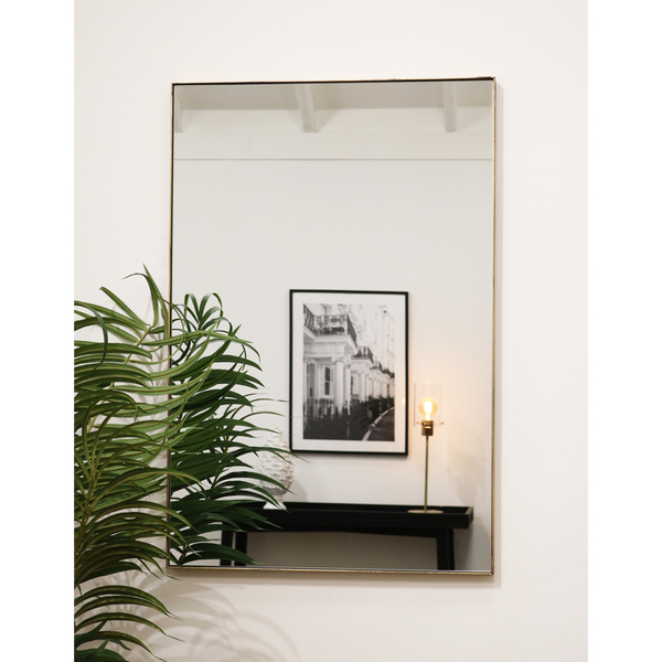"Theo - Vintage Gold Industrial Contemporary Rectangular Metal Wall Mirror 36"" x 24"" (90cm x 60cm)"