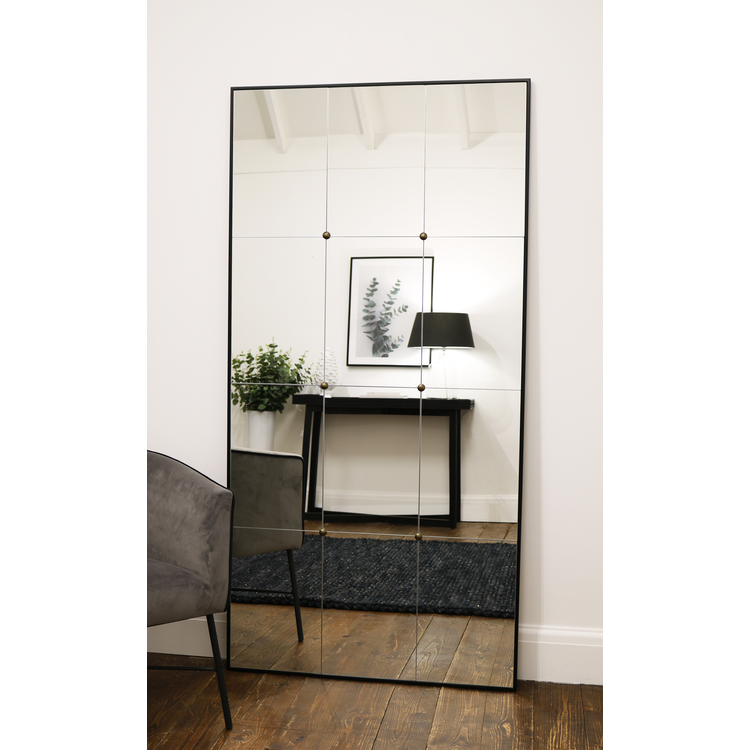 "Urbino - Black Industrial Contemporary Full Length Metal Mirror 71"" x 36"" (179cm x 90cm)"