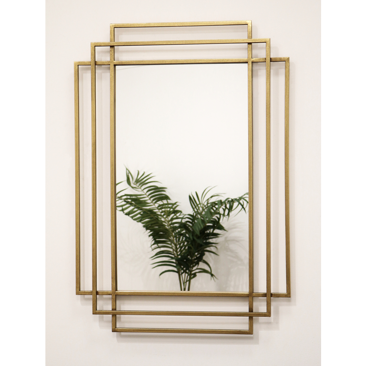 "Amalfi - Antique Gold Art Deco Rectangular Metal Mirror 40"" x 28"" (100cm x 70cm)"