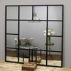 "Camden - Black Industrial Square Window Wall Mirror 47.5"" x 47.5"" (120cm x 120cm)"