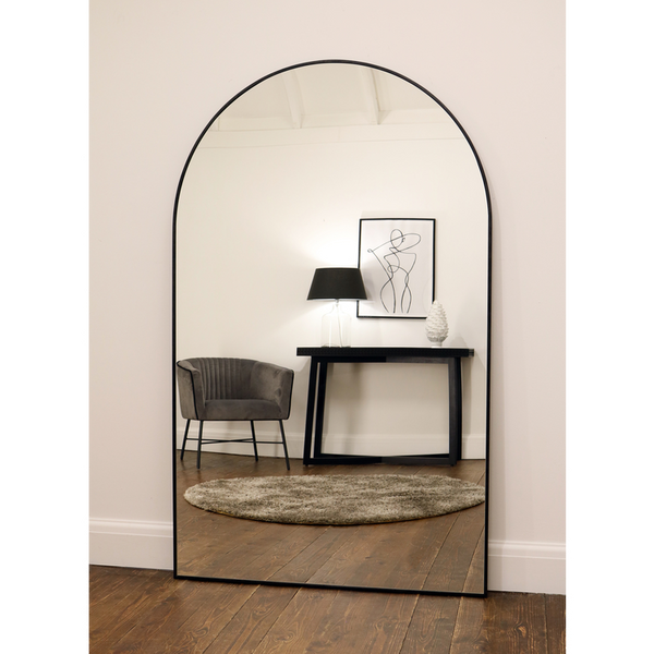 "Liberty - Black Arched Contemporary Metal Mirror 71"" x 44"" (179cm x 110cm)"
