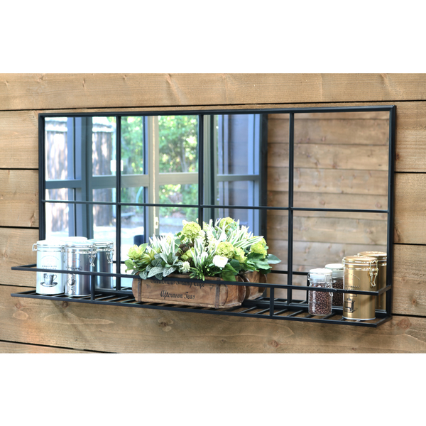 "Brooklyn - Black Industrial Shelf Mirror 47"" x 24"" (119cm x 60cm)"