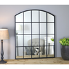 "Bridgewater Portrait - Black Industrial Arched Window Mirror 36"" x 30"" (90cm x 75cm)"