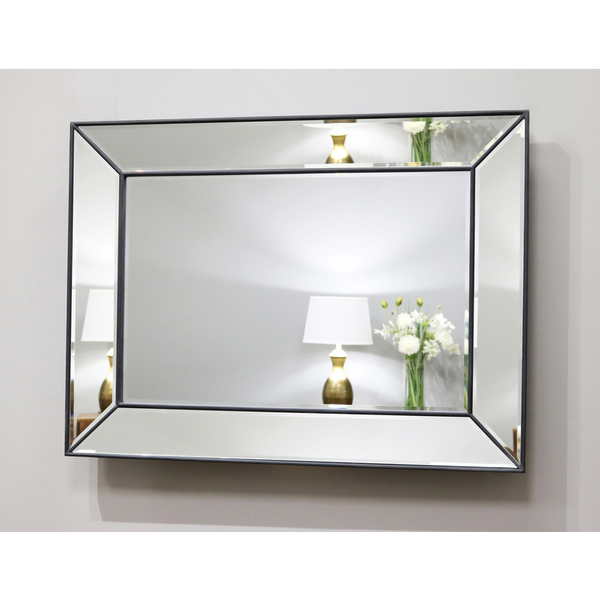 "Tuscano - Black Contemporary Rectangular Wall Mirror 46.5"" x 35"" (118cm x 88cm)"
