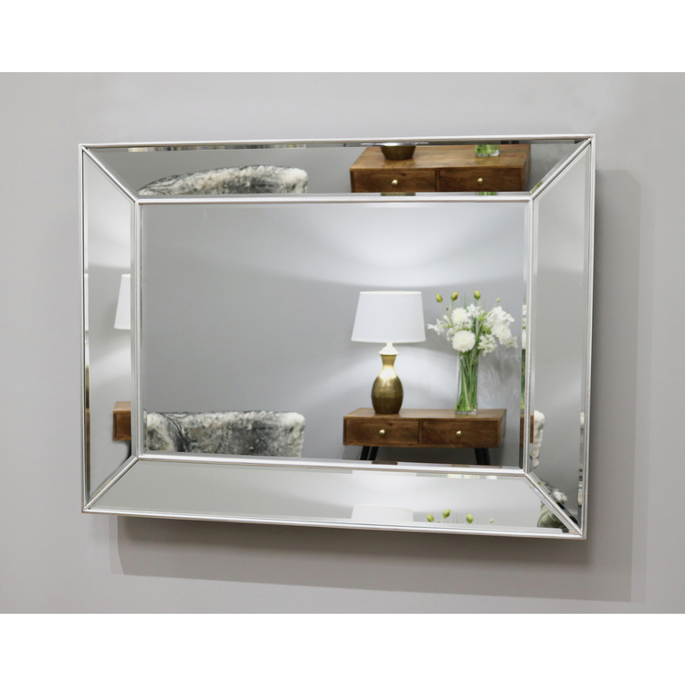 "Tuscano - Platinum Silver Contemporary Rectangular Wall Mirror 46.5"" x 35"" (118cm x 88cm)"