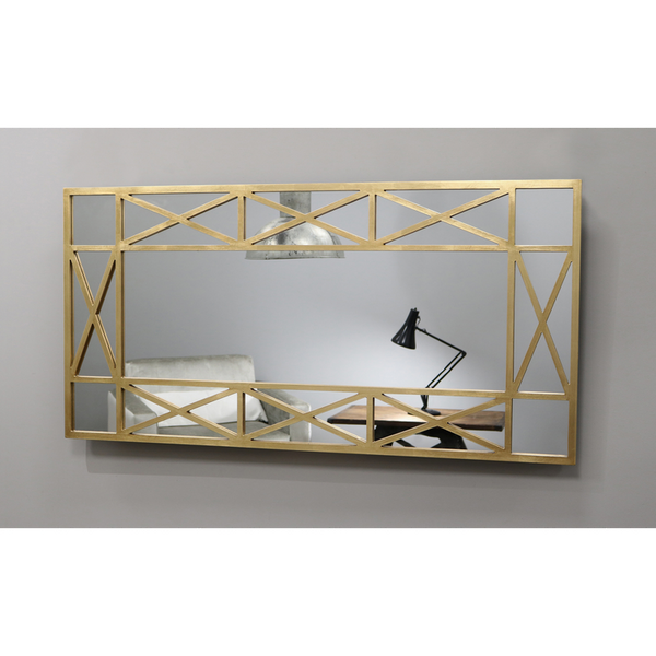 "Dijon - Gold Rectangular Window Mirror 55"" x 28"" (140cm x 70cm)"