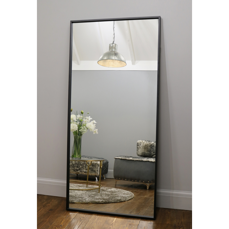 "Islington - Black Industrial Contemporary Full Length Metal Mirror 67"" x 32"" (170cm x 80cm)"