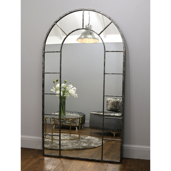 "Chicago - Crushed Black Industrial Full Length Mirror 71"" x 40"" (179cm x 100cm)"