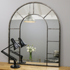 "Chicago - Crushed Black Industrial Arched Metal Wall Mirror 47"" x 39"" (119cm x 99cm)"