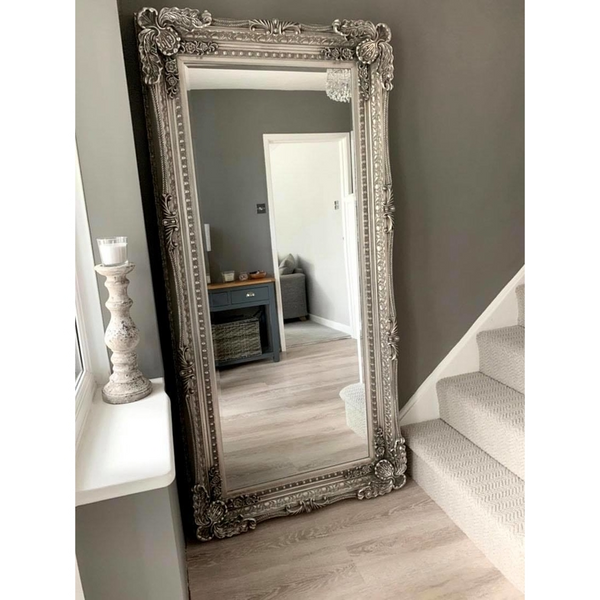 "Chelsea - Platinum Silver Carved Louis Full Length Mirror 72"" x 36"" (180cm x 90cm)"
